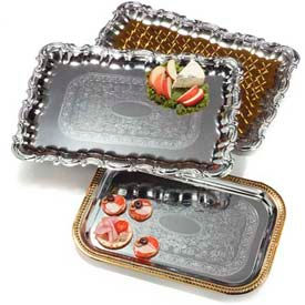 "Carlisle 608918 - Celebration™ Rectangular Tray W/ Ornate Border 21"" x 15"" - Pkg Qty 12"