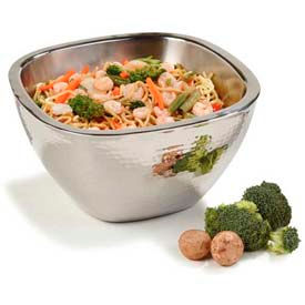 """Carlisle 609211 - Square Bowl W/Hammered Finish 3.5 Qt., 10"""", Stainless Steel - Pkg Qty 2"""