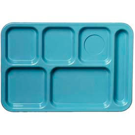 Carlisle 61459 - Left-Hand 6-Compartment Tray, Slate Blue - Pkg Qty 24