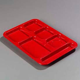 Carlisle 614R05 - Right-Hand Compartment Tray, Red - Pkg Qty 24