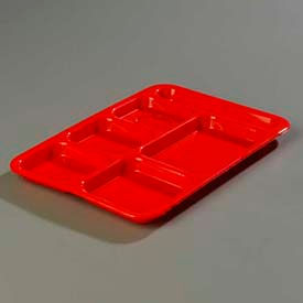 Carlisle P614R05 - Right-Hand 6-Compartment Tray, Red - Pkg Qty 24