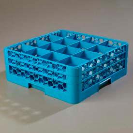 Carlisle RG16-214 - Opticlean™ 16 Compartment Glass Rack W/2 Extenders, Blue, Qty 3 - Pkg Qty 3