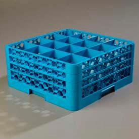 Carlisle RG16-314 - Opticlean™ 16 Compartment Glass Rack W/ 3 Extenders, Blue - Pkg Qty 2