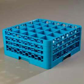 Carlisle RG25-314 - Opticlean™ 25-Compartment Glass Rack W/ 3 Extenders, Carlisle Blue - Pkg Qty 2