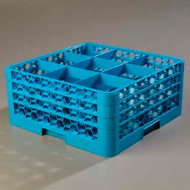 Carlisle RG9-314 - Opticlean™ 9-Compartment Glass Rack W/ 3 Extenders, Carlisle Blue - Pkg Qty 2