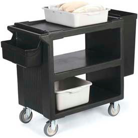 """Carlisle SBC23003 - Service Cart with 2 Fixed Casters, 2 Swivel Casters, 1 W/ Brake 33"""" x 20"""", Black"""