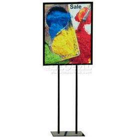 """Flat Base Poster Stand W/Round Legs, Holds 22""""W x 28""""H Poster, BK"""