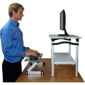 Uncaged Ergonomics LSDWS LIFT Standing Desk Conversion, White Stand & Silver Keyboard Tray