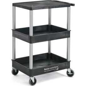 Relius Solutions®  Tray-Shelf Carts With Nickel Legs - 3 Shelves - Flush Top