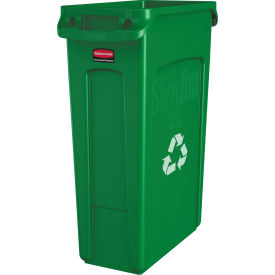 Rubbermaid® Slim Jim Vented Recycling Container 3540-07 - Green