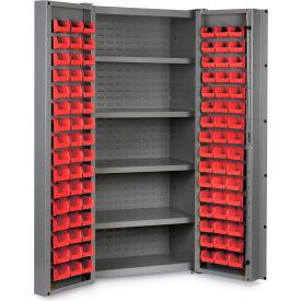 """Bin Cabinet Deep Door with 96 Red Bins, 16 Ga. All-Welded Cabinet 36""""W x 24""""D x 72""""H, Gray"""