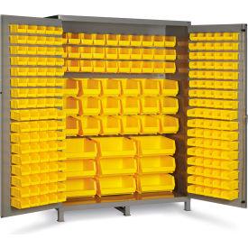 "Bin Cabinet Flush Door with 227 Yellow Bins, 16 Ga. All-Welded Cabinet 60""W x 24""D x 84""H, Gray"