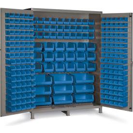 "Bin Cabinet Flush Door with 227 Blue Bins, 16 Ga. All-Welded Cabinet 60""W x 24""D x 84""H, Gray"