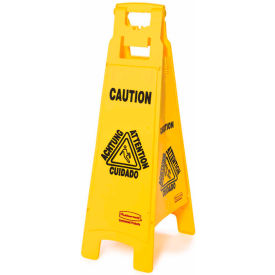 "Rubbermaid Floor Sign 6114 - Caution - Multi-Lingual - 37""H"
