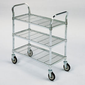 """Square-Post Wire Utility Carts with Rubber Casters -36"""" Wx24"""" D Shelf - 3 Shelves"""