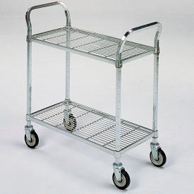 """Square-Post Wire Utility Carts with Rubber Casters - 48"""" Wx18"""" D Shelf - 2 Shelves"""