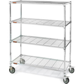 "Square-Post Wire Shelf Trucks with Smart Casters - 60"" Wx24"" D Shelf - 70"" H"