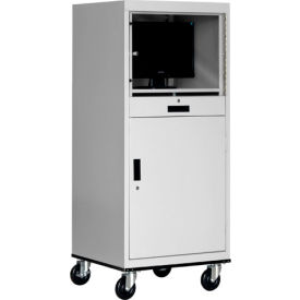 Sandusky Economical Mobile Computer Cabinet with Adjustable Shelf, Dove Gray
