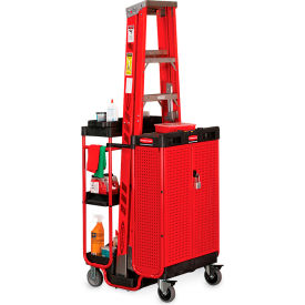 """Rubbermaid Ladder Cart With Lockable Cabinet - 42""""H"""