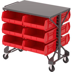 """Akro-Mills Shelf-Top Bin Cart - 38-1/2 x24x36-1/2"""" - (12) 16-1/2 x14-3/4 x7"""" Bins - Red"""