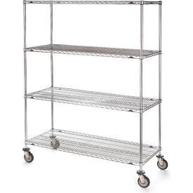"Metro Stainless Steel Wire Shelf Trucks - 72"" Wx24"" D Shelf"