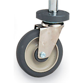 """Metro 5"""" Casters for Open-Wire Shelving - Resilient Rubber - Swivel with Brake & Bumper"""