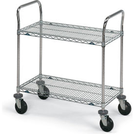 """Metro Stainless Steel Wire Utility Carts - 36"""" Wx24"""" D Shelf"""