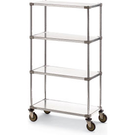 "Metro Super Erecta Shelf Trucks with Solid Galvanized Shelves - 48""W x 24""D Shelf"