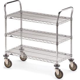 "Metro Three-Shelf Wire Carts - 60"" Wx24"" D Shelf"