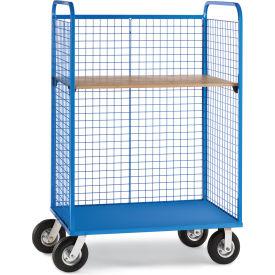 "Relius Elite Wire Cage Trucks - Wood Shelf - 8"" Pneumatic Casters - 45"" Wx30"" D Shelf - Blue"