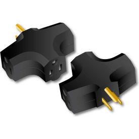 Century® D10101001 90 Degree Triple Tap Adapter, 15 Amps, Black
