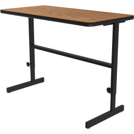 "Correll Adjustable Standing Height Workstation - 48""L x 24""W x 34"" to 42"" - Medium Oak"
