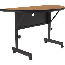 "Correll Flip Top Training Table - Laminate - 24"" x 48"" Half-Round Medium Oak"