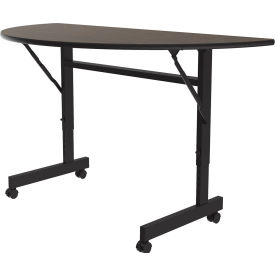 "Correll Econo-Line Flip Top Table, 24"" x 48"" Half-Round, Walnut"