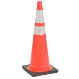"36"" Solid Orange Cone W/Black Base & 6""+ 4"" Reflective - Pkg Qty 4"