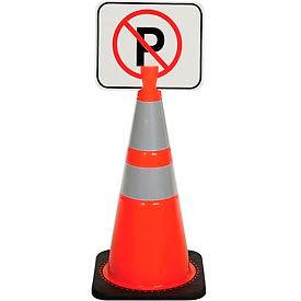 "Cone Sign - No Parking, 13"" x 11"", Black on Orange, 1 Each"
