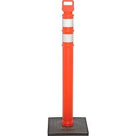 "45"" Orange Ez Grab Delineator Post, Flared With 10lb Base"