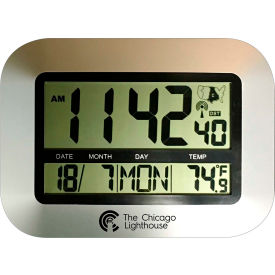 """Chicago Lighthouse 9.75"""" Digital Atomic Clock with Calendar and Indoor Temperature Display - Silver"""