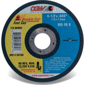 "CGW Abrasives 35130 Fast Cut Thin Cutting Wheel 4-1/2"" x 0.045"" x 7/8"" Type 1 Aluminum Oxide - Pkg Qty 25"