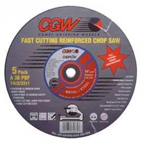 "CGW Abrasives 36133 Cut-Off Wheel 16"" x 1"" 36 Grit Type 1 Aluminum Oxide - Pkg Qty 10"