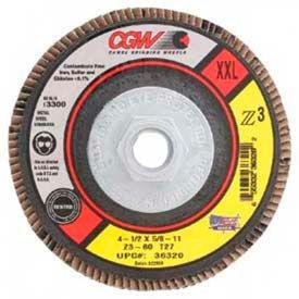 "CGW Abrasives 36320 Abrasive Flap Disc 4-1/2"" x 5/8 - 11"" 60 Grit Zirconia - Pkg Qty 10"