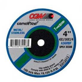 "CGW Abrasives 59108 Depressed Center Wheel 4"" x 1/16"" x 1/4"" 36 Grit Aluminum Oxide - Pkg Qty 50"