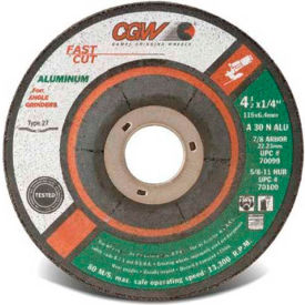 "CGW Abrasives 70099 Depressed Center Wheel 4-1/2"" x 1/4"" x 7/8"" Type 27 30 Grit Aluminium Oxide - Pkg Qty 25"