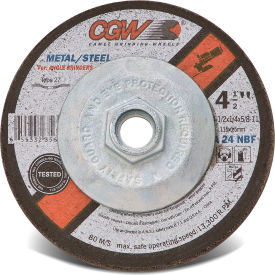 "CGW Abrasives 35623 Depressed Center Wheel 4-1/2"" x 1/4"" x 5/8 - 11 Type 27 24 Grit Aluminium Oxide - Pkg Qty 10"