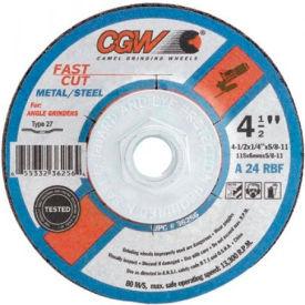 "CGW Abrasives 36259 Depressed Center Wheel 6"" x 1/4"" x 7/8"" Type 27 24 Grit Aluminum Oxide - Pkg Qty 25"