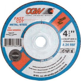 "CGW Abrasives 36263 Depressed Center Wheel 9"" x 1/4"" x 7/8"" Type 27 24 Grit Aluminum Oxide - Pkg Qty 25"
