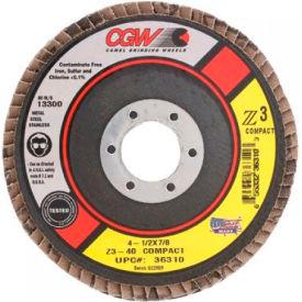 "CGW Abrasives 36312 Abrasive Flap Disc 4-1/2"" x 7/8"" 80 Grit Zirconia - Pkg Qty 10"