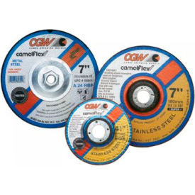 "CGW Abrasives 37531 Depressed Center Wheel 5"" x 1/4"" x 5/8- 11 INT Type 27 24 Grit Aluminum Oxide - Pkg Qty 10"