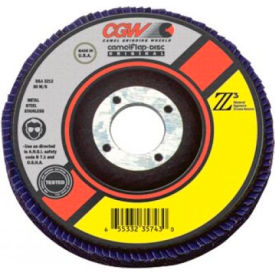 "CGW Abrasives 54002 Abrasive Flap Disc 4-1/2"" x 7/8"" 40 Grit Zirconia - Pkg Qty 10"