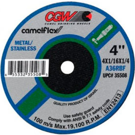 "CGW Abrasives 59106 Depressed Center Wheel 4"" x 1/32"" x 1/4"" 60 Grit Aluminum Oxide - Pkg Qty 50"